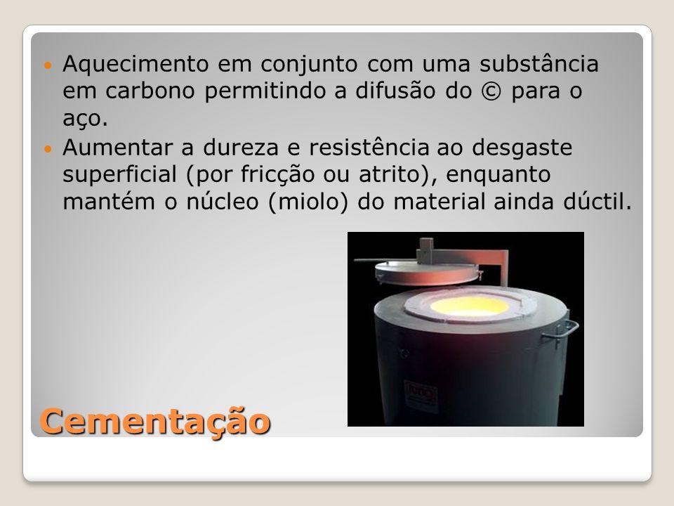 Cementação Aquecimento em conjunto com uma substância em carbono permitindo a difusão do © para o aço. Aumentar a dureza e resistência ao desgaste sup