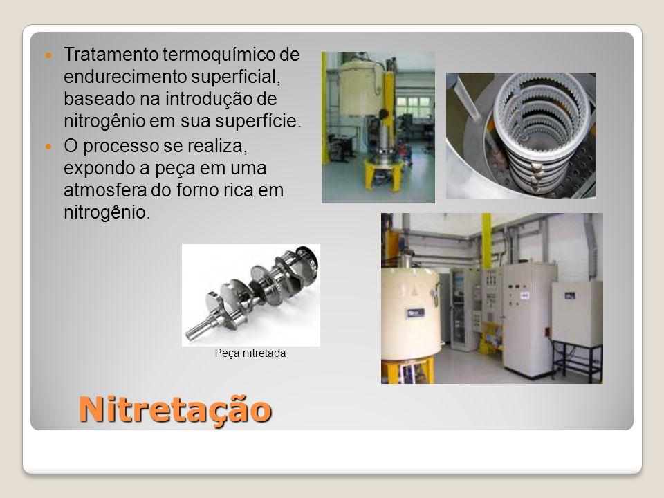 Tratamento termoquímico de endurecimento superficial, baseado na introdução de nitrogênio em sua superfície. O processo se realiza, expondo a peça em