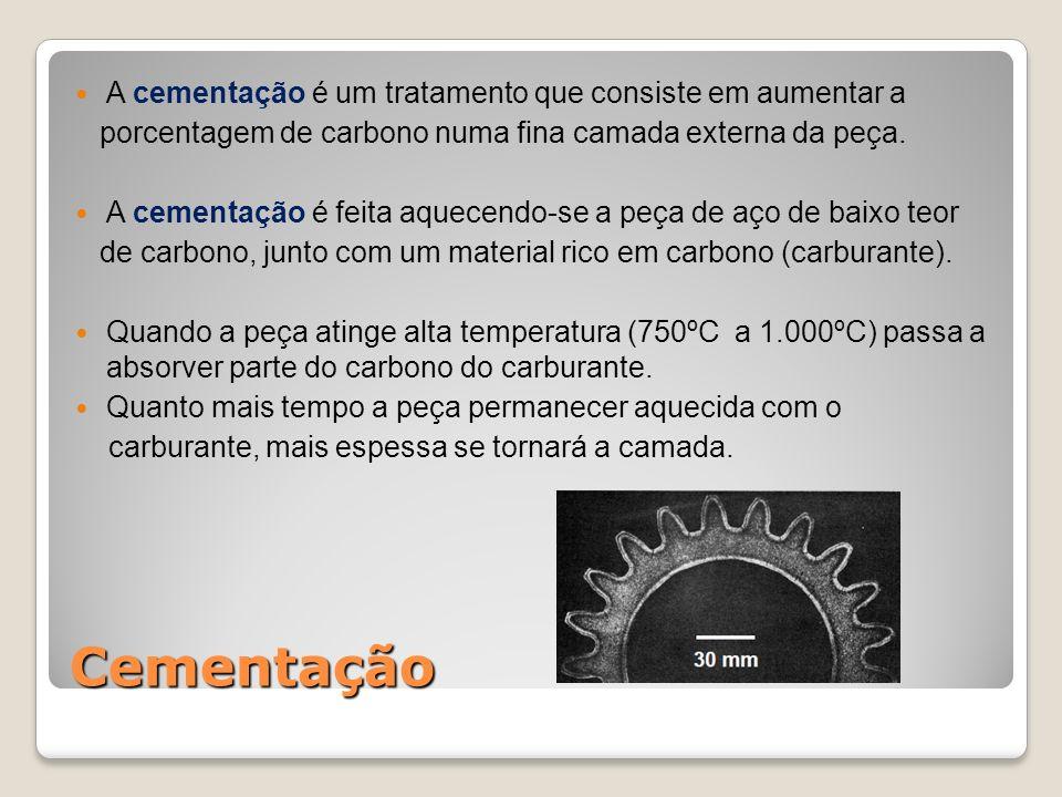 Cementação A cementação é um tratamento que consiste em aumentar a porcentagem de carbono numa fina camada externa da peça. A cementação é feita aquec