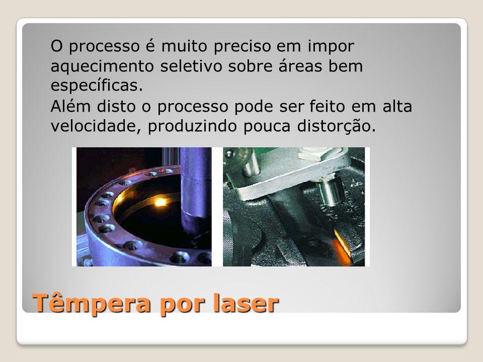 Têmpera por laser O processo é muito preciso em impor aquecimento seletivo sobre áreas bem específicas. Além disto o processo pode ser feito em alta v