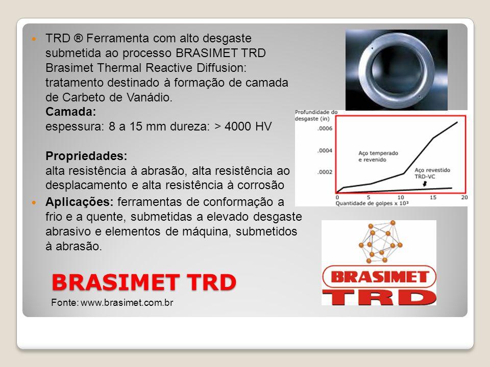 BRASIMET TRD TRD ® Ferramenta com alto desgaste submetida ao processo BRASIMET TRD Brasimet Thermal Reactive Diffusion: tratamento destinado à formaçã