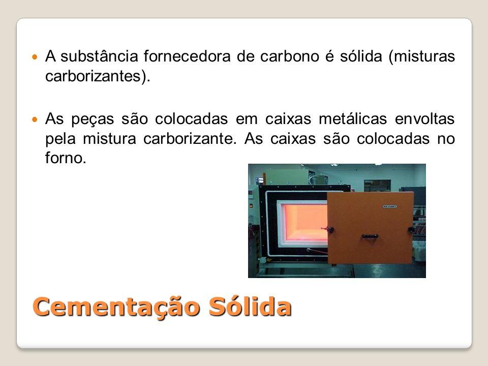 Cementação Sólida A substância fornecedora de carbono é sólida (misturas carborizantes). As peças são colocadas em caixas metálicas envoltas pela mist