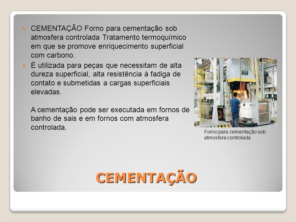 CEMENTAÇÃO CEMENTAÇÃO Forno para cementação sob atmosfera controlada Tratamento termoquímico em que se promove enriquecimento superficial com carbono.