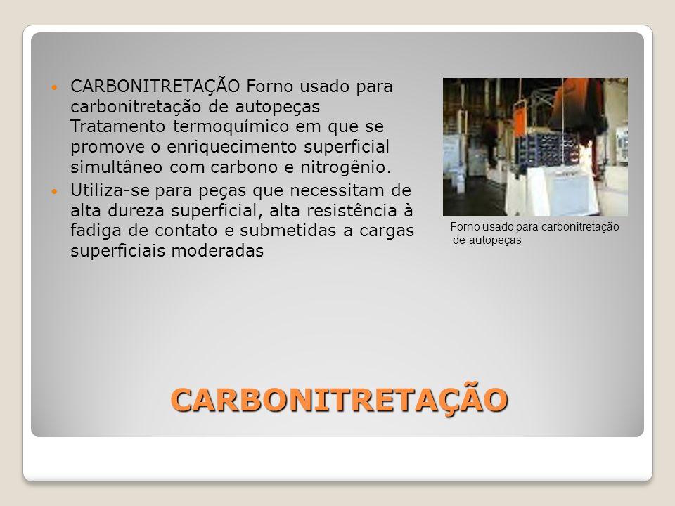 CARBONITRETAÇÃO CARBONITRETAÇÃO Forno usado para carbonitretação de autopeças Tratamento termoquímico em que se promove o enriquecimento superficial s