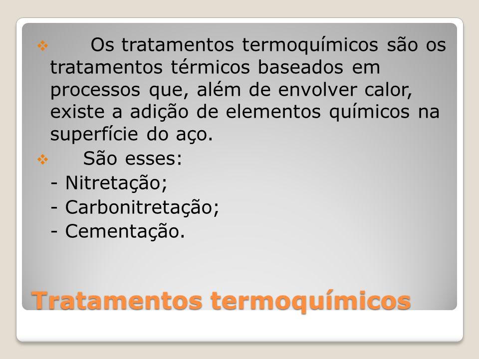 Tratamentos termoquímicos Os tratamentos termoquímicos são os tratamentos térmicos baseados em processos que, além de envolver calor, existe a adição