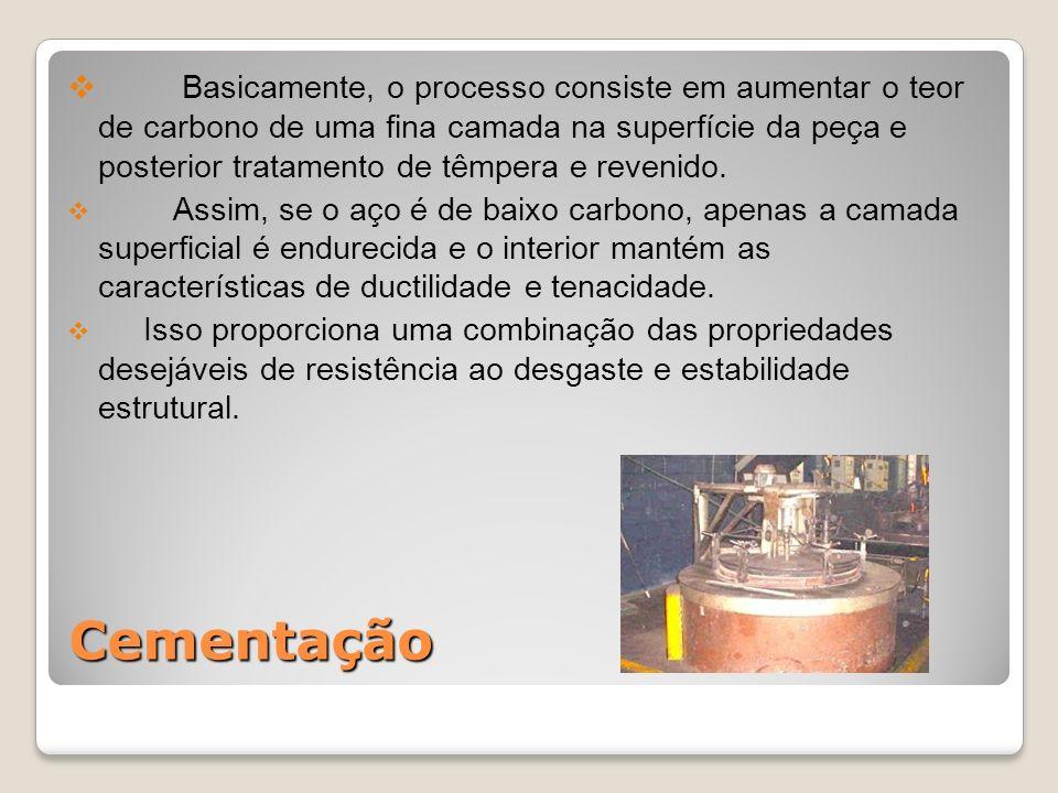 Cementação Basicamente, o processo consiste em aumentar o teor de carbono de uma fina camada na superfície da peça e posterior tratamento de têmpera e