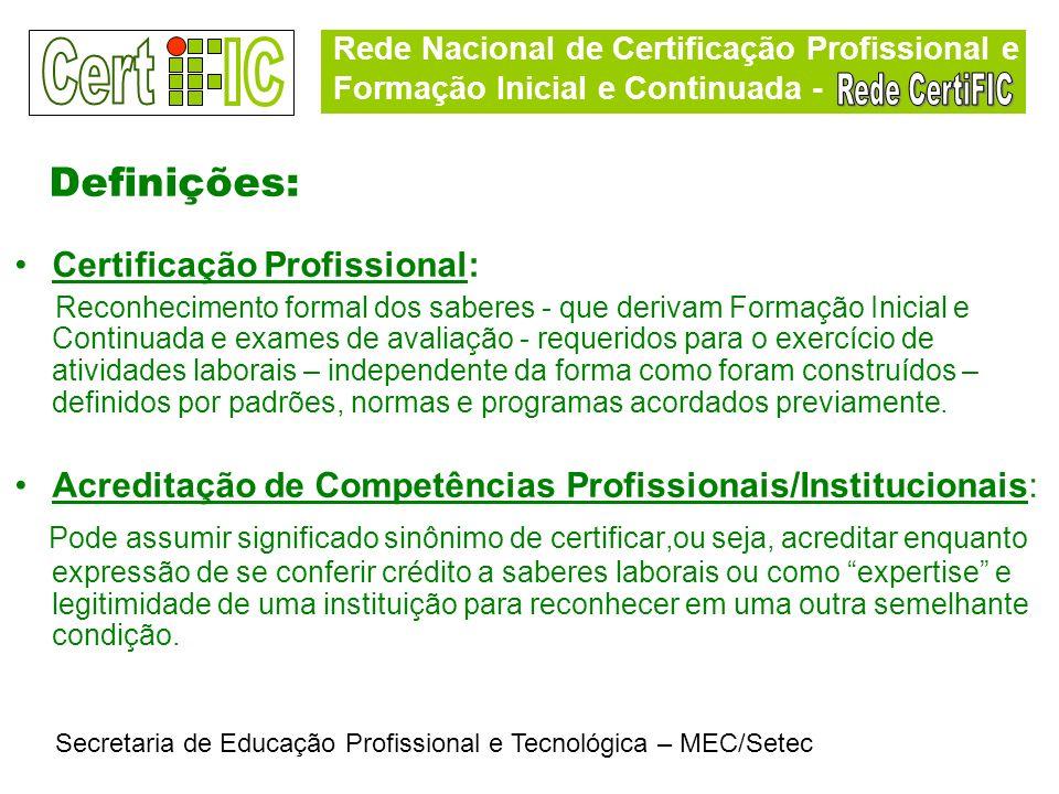 Rede Nacional de Certificação Profissional e Formação Inicial e Continuada - Secretaria de Educação Profissional e Tecnológica – MEC/Setec Definições: