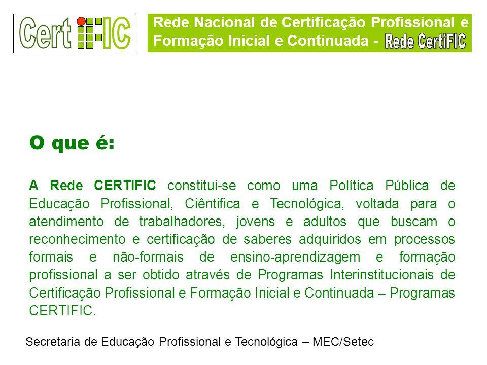 Rede Nacional de Certificação Profissional e Formação Inicial e Continuada - Secretaria de Educação Profissional e Tecnológica – MEC/Setec O que é: A
