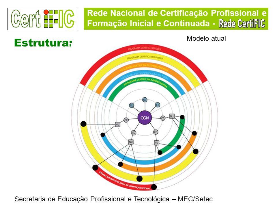 Rede Nacional de Certificação Profissional e Formação Inicial e Continuada - Secretaria de Educação Profissional e Tecnológica – MEC/Setec Estrutura: Modelo atual