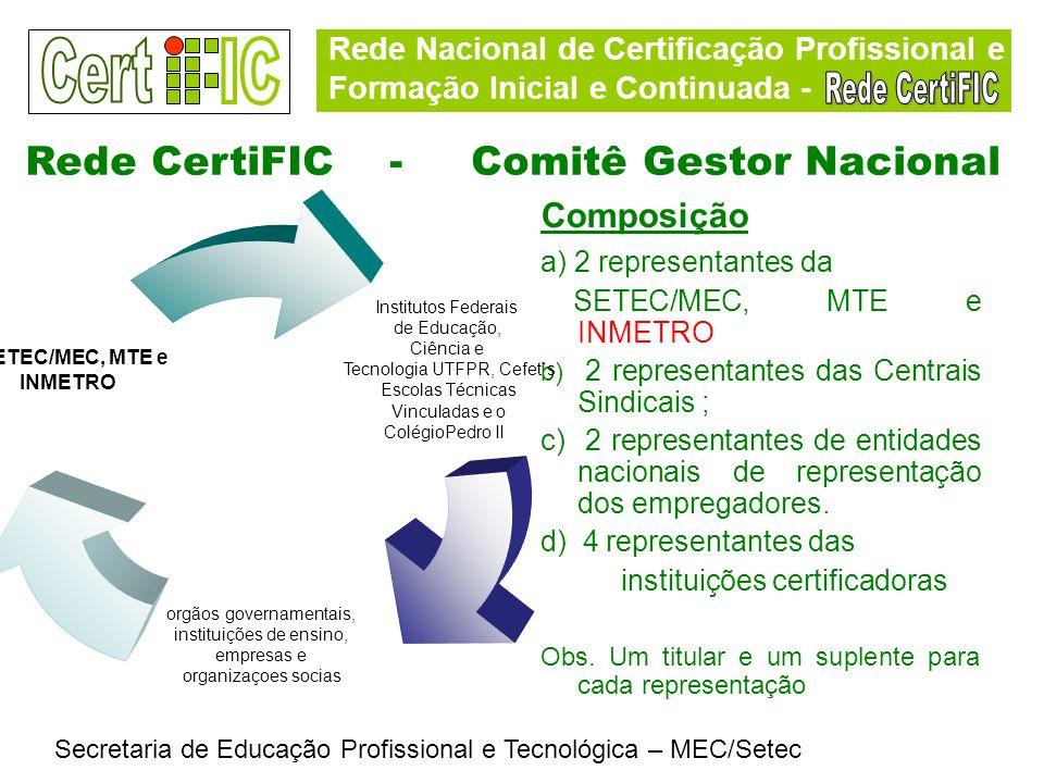 Rede Nacional de Certificação Profissional e Formação Inicial e Continuada - Secretaria de Educação Profissional e Tecnológica – MEC/Setec Rede CertiF