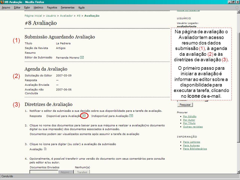 Ao clicar no ícone da página anterior, o sistema abre a tela de E-mail Padrão, para informar a disponibilidade do avaliador ao Editor responsável.