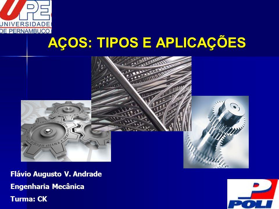 AÇOS: TIPOS E APLICAÇÕES Flávio Augusto V. Andrade Engenharia Mecânica Turma: CK