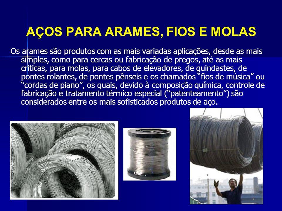 AÇOS PARA ARAMES, FIOS E MOLAS Os arames são produtos com as mais variadas aplicações, desde as mais simples, como para cercas ou fabricação de pregos