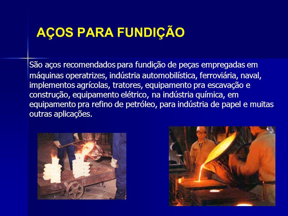 AÇOS PARA FUNDIÇÃO São aços recomendados para fundição de peças empregadas em máquinas operatrizes, indústria automobilística, ferroviária, naval, imp