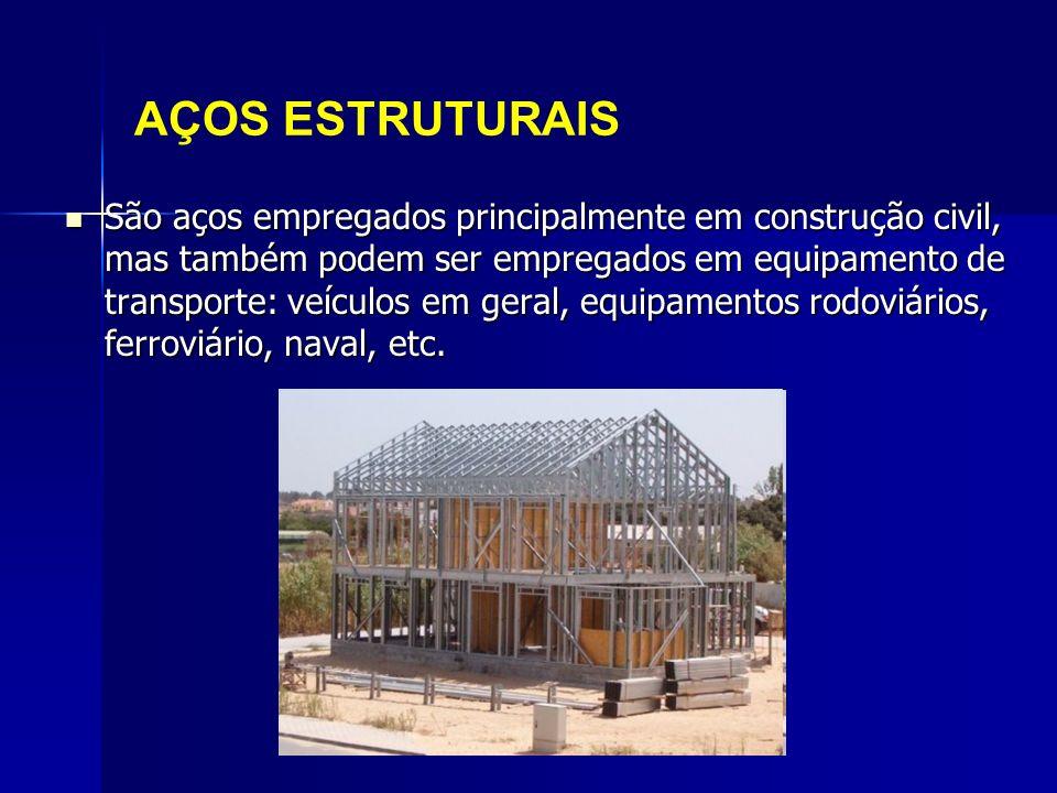 AÇOS ESTRUTURAIS São aços empregados principalmente em construção civil, mas também podem ser empregados em equipamento de transporte: veículos em ger