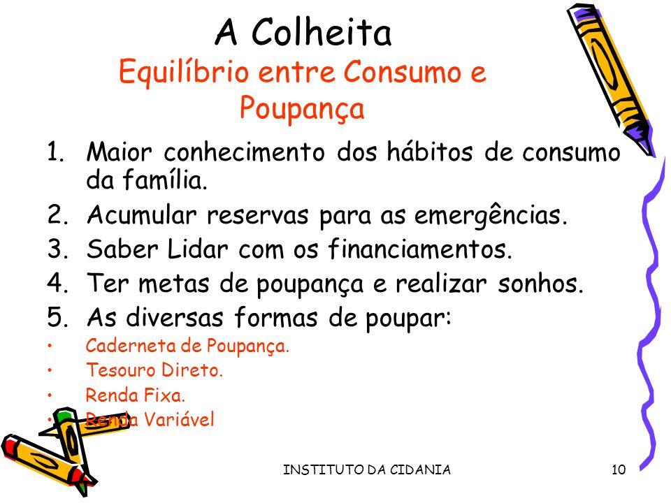 INSTITUTO DA CIDANIA10 A Colheita Equilíbrio entre Consumo e Poupança 1.Maior conhecimento dos hábitos de consumo da família.