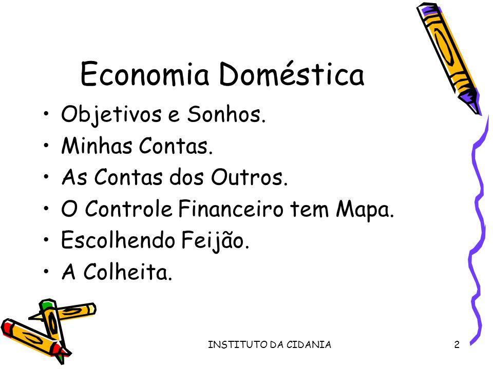 INSTITUTO DA CIDANIA2 Economia Doméstica Objetivos e Sonhos.