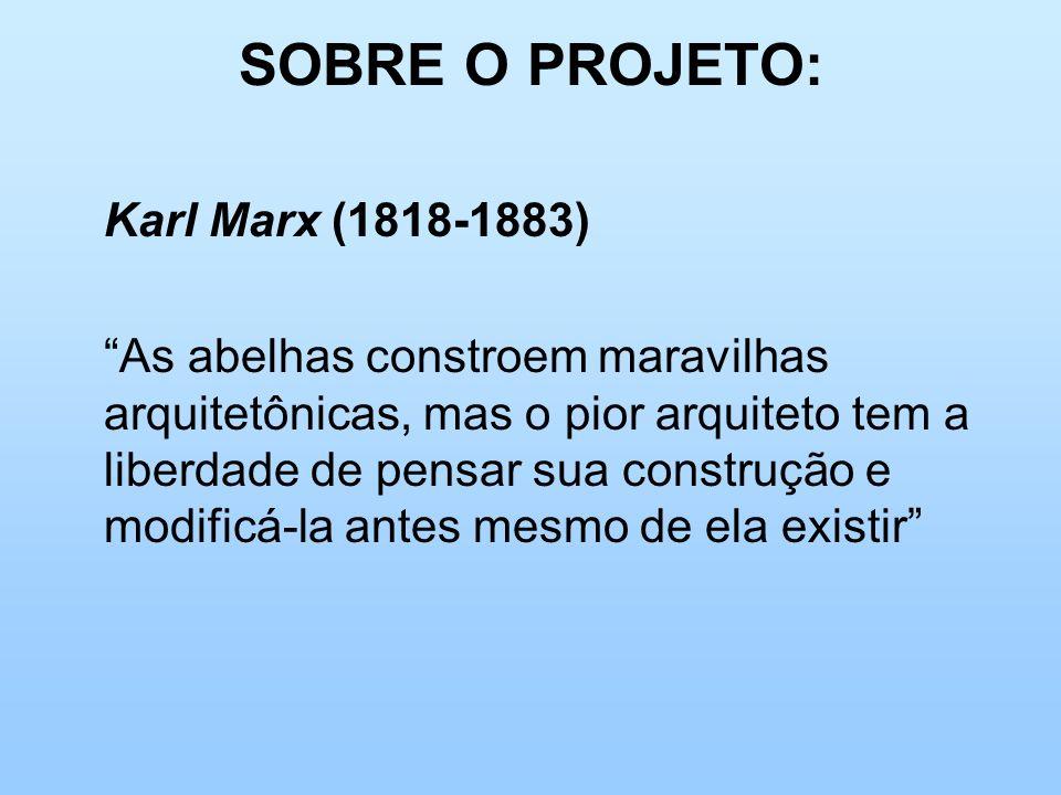 SOBRE O PROJETO: Karl Marx (1818-1883) As abelhas constroem maravilhas arquitetônicas, mas o pior arquiteto tem a liberdade de pensar sua construção e