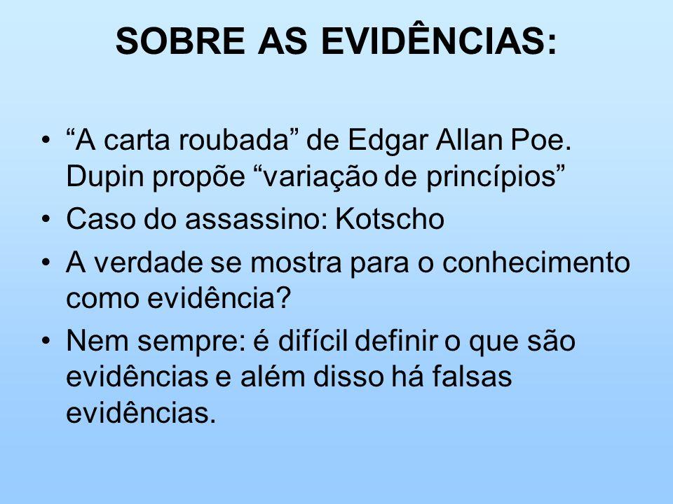 SOBRE AS EVIDÊNCIAS: A carta roubada de Edgar Allan Poe. Dupin propõe variação de princípios Caso do assassino: Kotscho A verdade se mostra para o con