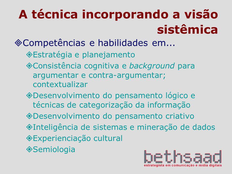 A técnica incorporando a visão sistêmica Competências e habilidades em... Estratégia e planejamento Consistência cognitiva e background para argumenta