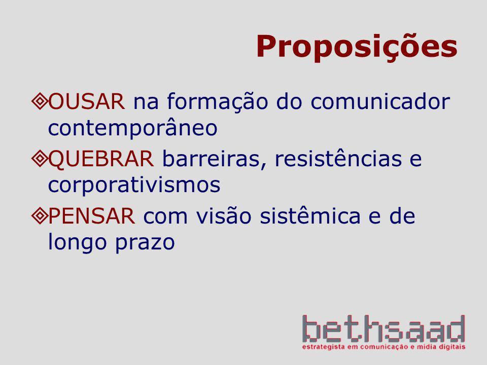 Proposições OUSAR na formação do comunicador contemporâneo QUEBRAR barreiras, resistências e corporativismos PENSAR com visão sistêmica e de longo pra