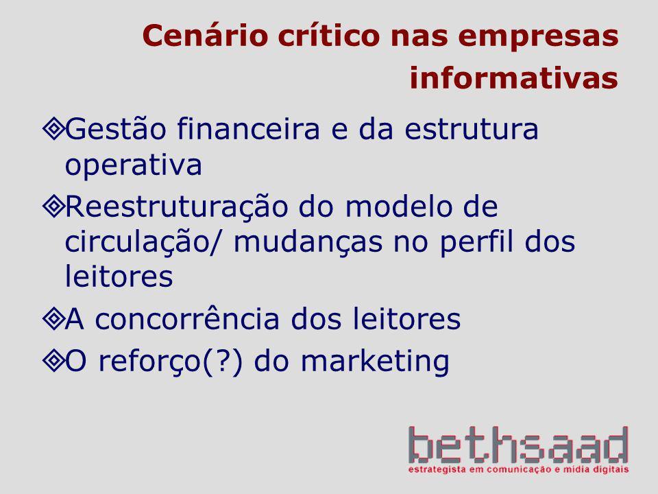 Cenário crítico nas empresas informativas Gestão financeira e da estrutura operativa Reestruturação do modelo de circulação/ mudanças no perfil dos le