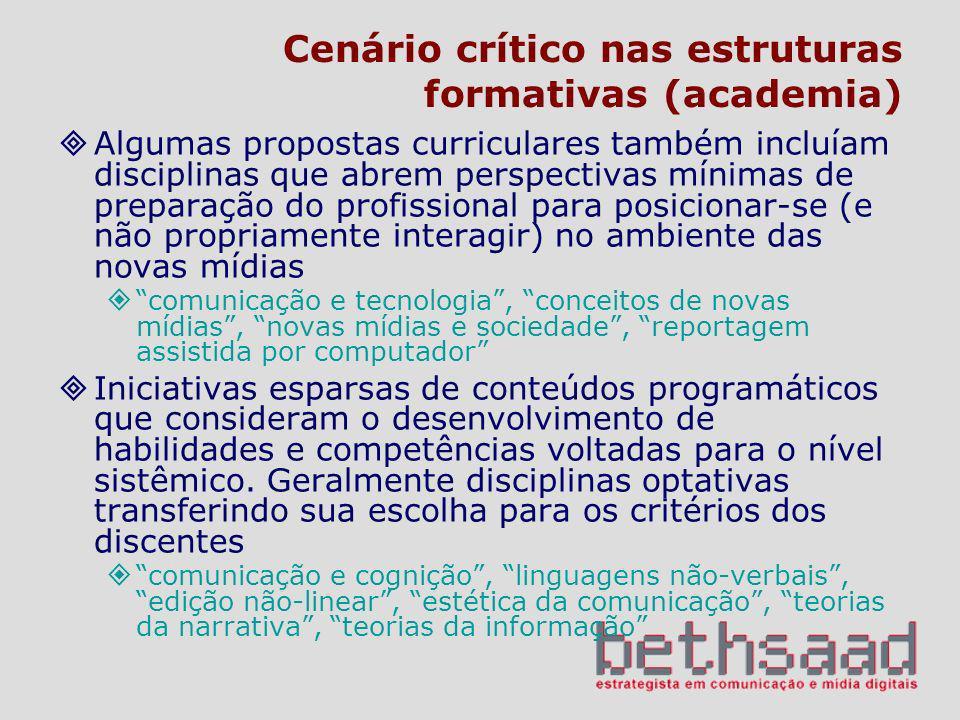 Cenário crítico nas estruturas formativas (academia) Algumas propostas curriculares também incluíam disciplinas que abrem perspectivas mínimas de prep