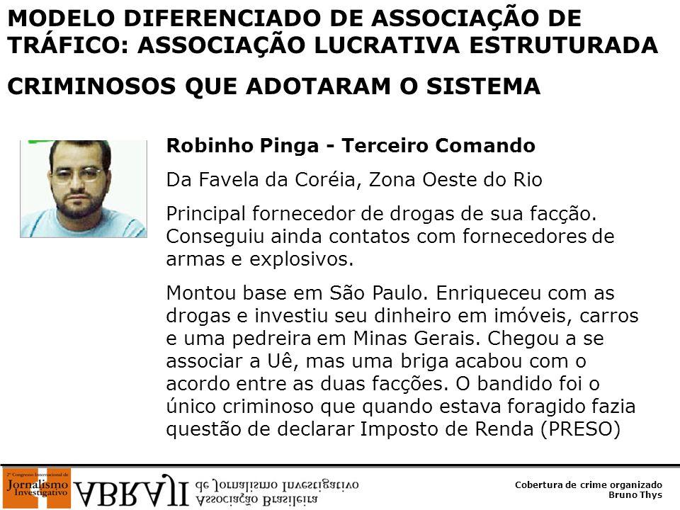 Cobertura de crime organizado Bruno Thys Robinho Pinga - Terceiro Comando Da Favela da Coréia, Zona Oeste do Rio Principal fornecedor de drogas de sua