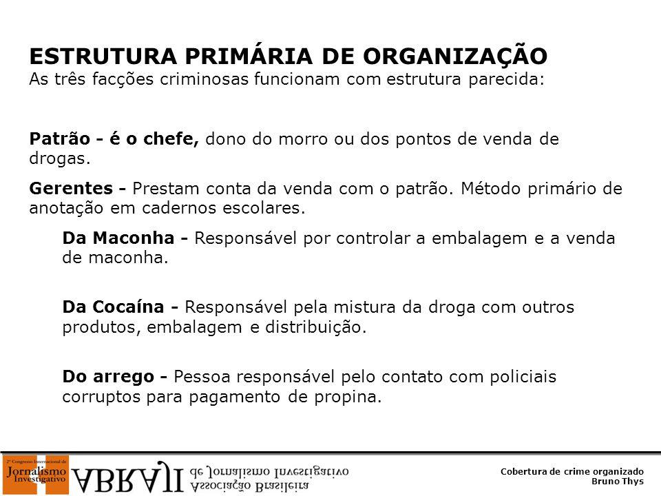 Cobertura de crime organizado Bruno Thys ESTRUTURA PRIMÁRIA DE ORGANIZAÇÃO As três facções criminosas funcionam com estrutura parecida: Patrão - é o c