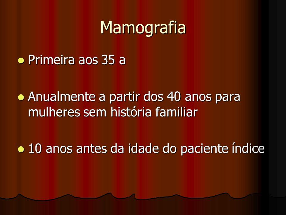 Mamografia Primeira aos 35 a Primeira aos 35 a Anualmente a partir dos 40 anos para mulheres sem história familiar Anualmente a partir dos 40 anos par