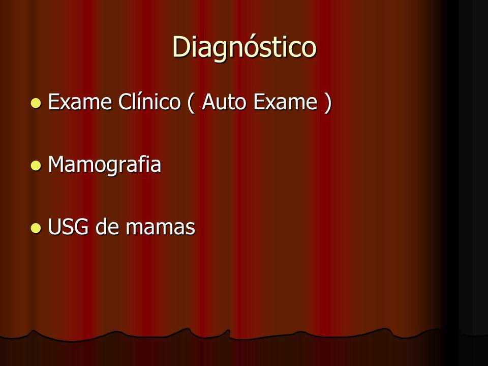 Diagnóstico Exame Clínico ( Auto Exame ) Exame Clínico ( Auto Exame ) Mamografia Mamografia USG de mamas USG de mamas