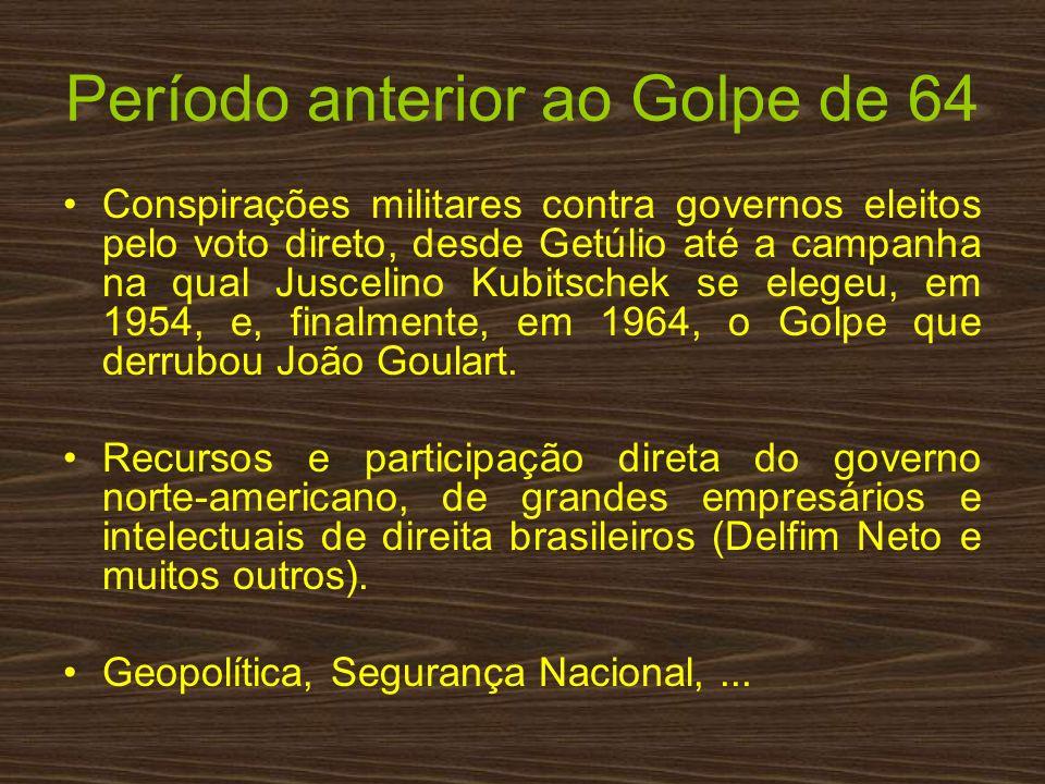Período anterior ao Golpe de 64 Conspirações militares contra governos eleitos pelo voto direto, desde Getúlio até a campanha na qual Juscelino Kubits