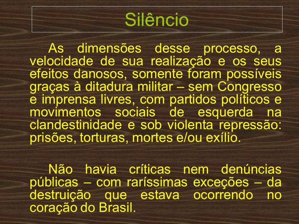 Silêncio As dimensões desse processo, a velocidade de sua realização e os seus efeitos danosos, somente foram possíveis graças à ditadura militar – se