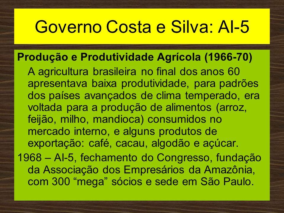 Governo Costa e Silva: AI-5 Produção e Produtividade Agrícola (1966-70) A agricultura brasileira no final dos anos 60 apresentava baixa produtividade,