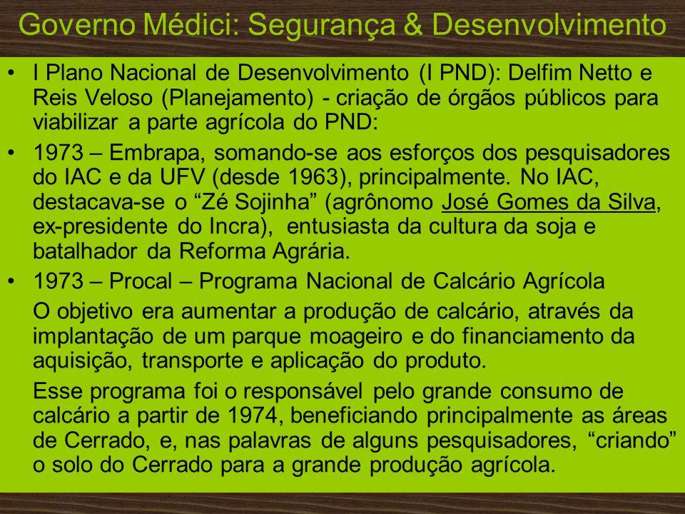 Governo Médici: Segurança & Desenvolvimento I Plano Nacional de Desenvolvimento (I PND): Delfim Netto e Reis Veloso (Planejamento) - criação de órgãos