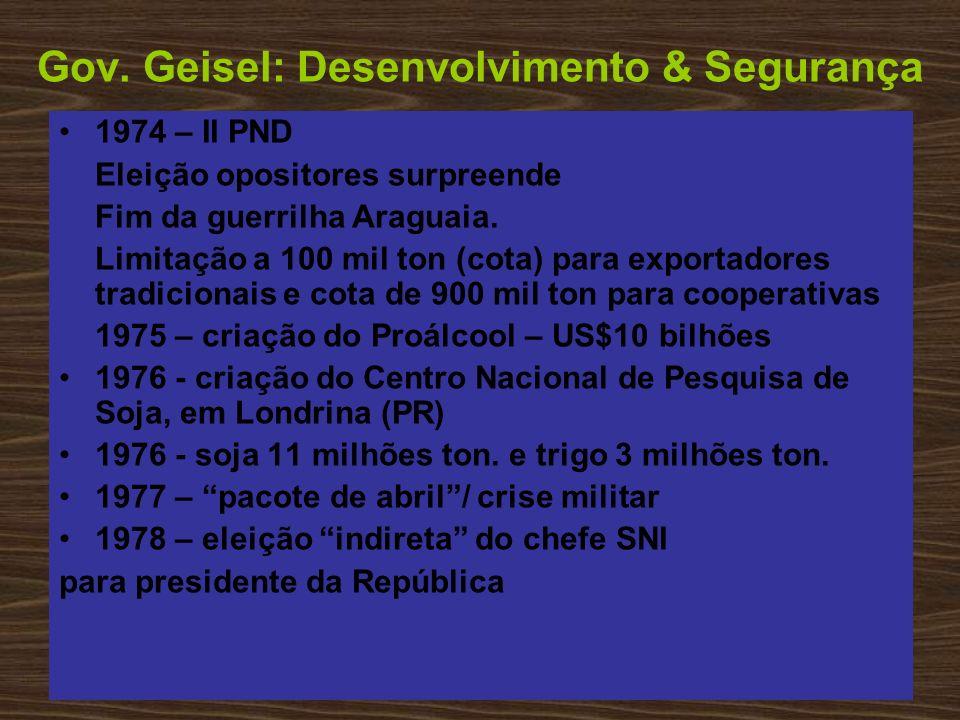 Gov. Geisel: Desenvolvimento & Segurança 1974 – II PND Eleição opositores surpreende Fim da guerrilha Araguaia. Limitação a 100 mil ton (cota) para ex