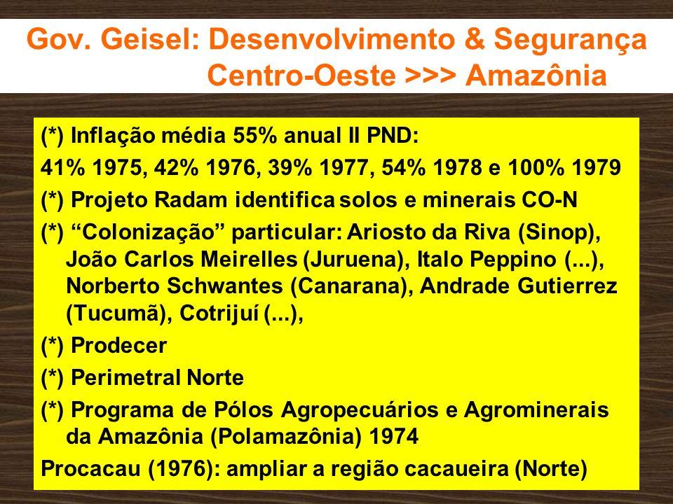 Gov. Geisel: Desenvolvimento & Segurança Centro-Oeste >>> Amazônia (*) Inflação média 55% anual II PND: 41% 1975, 42% 1976, 39% 1977, 54% 1978 e 100%