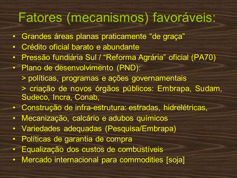 Fatores (mecanismos) favoráveis: Grandes áreas planas praticamente de graça Crédito oficial barato e abundante Pressão fundiária Sul / Reforma Agrária