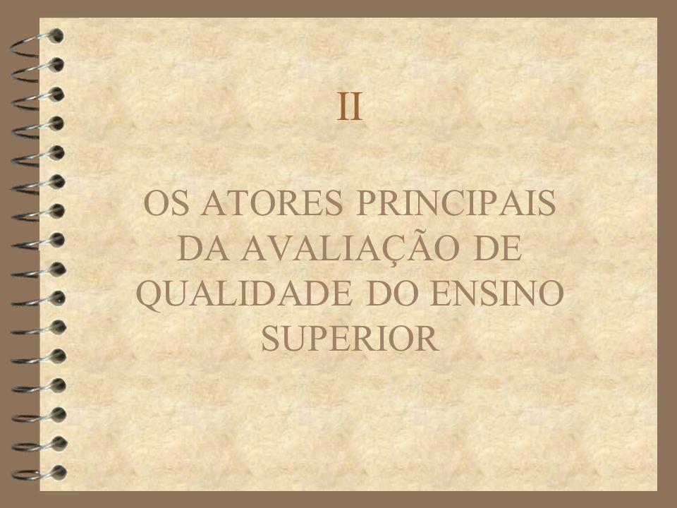 II OS ATORES PRINCIPAIS DA AVALIAÇÃO DE QUALIDADE DO ENSINO SUPERIOR