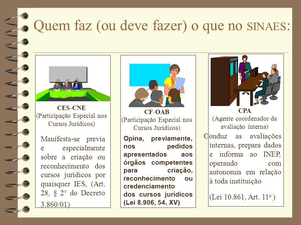 CF-OAB (Participação Especial nos Cursos Jurídicos) CES-CNE (Participação Especial nos Cursos Jurídicos) Conduz as avaliações internas, prepara dados