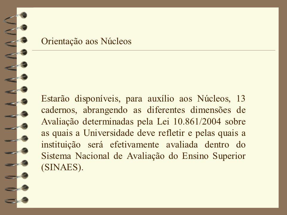 Orientação aos Núcleos Estarão disponíveis, para auxílio aos Núcleos, 13 cadernos, abrangendo as diferentes dimensões de Avaliação determinadas pela L