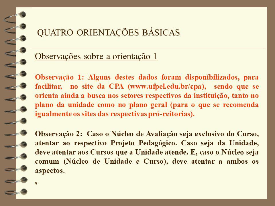 QUATRO ORIENTAÇÕES BÁSICAS Observações sobre a orientação 1 Observação 1: Alguns destes dados foram disponíbilizados, para facilitar, no site da CPA (