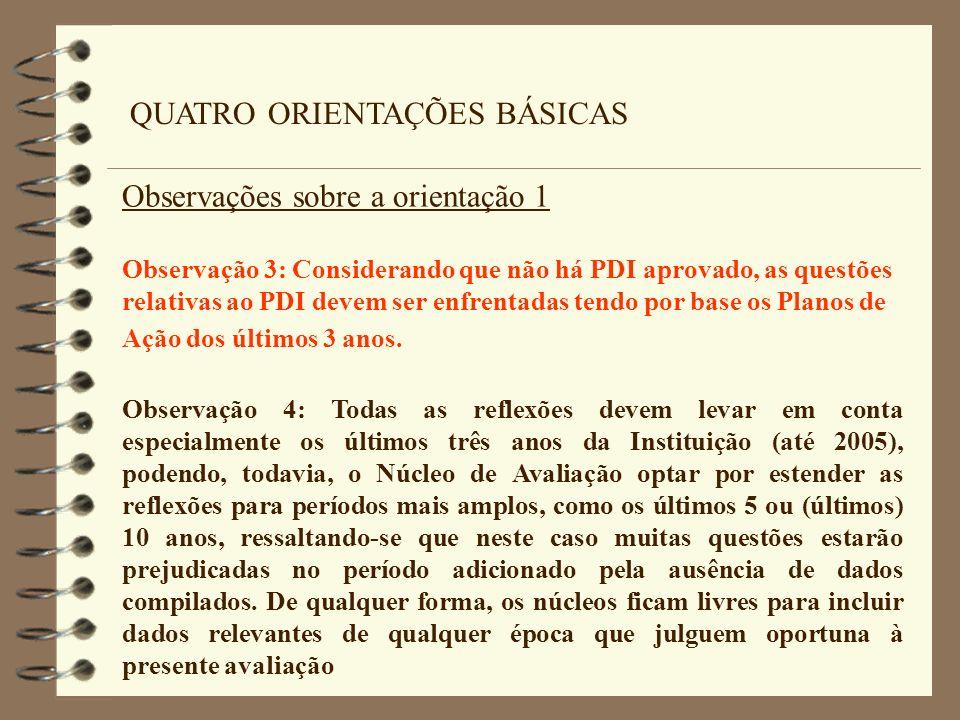 QUATRO ORIENTAÇÕES BÁSICAS Observações sobre a orientação 1 Observação 3: Considerando que não há PDI aprovado, as questões relativas ao PDI devem ser