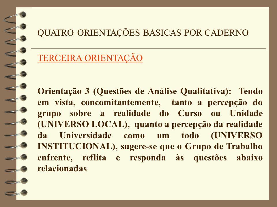 QUATRO ORIENTAÇÕES BASICAS POR CADERNO TERCEIRA ORIENTAÇÃO Orientação 3 (Questões de Análise Qualitativa): Tendo em vista, concomitantemente, tanto a