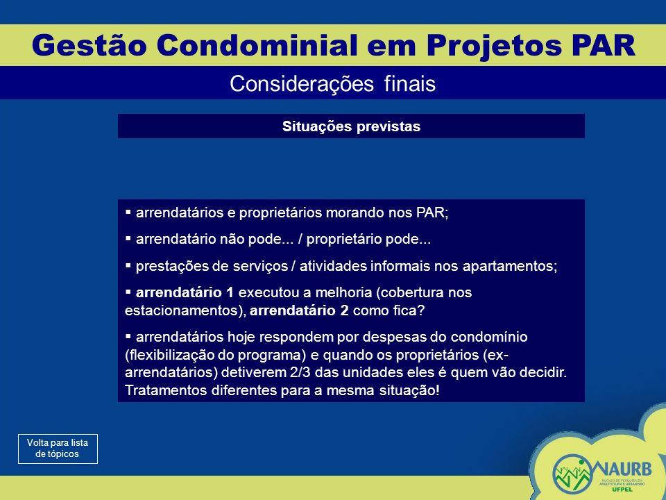 Gestão Condominial em Projetos PAR Considerações finais Situações previstas arrendatários e proprietários morando nos PAR; arrendatário não pode...