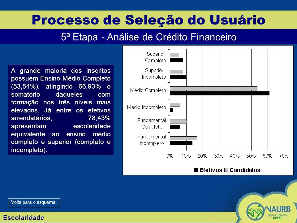 Escolaridade Processo de Seleção do Usuário 5ª Etapa - Análise de Crédito Financeiro A grande maioria dos inscritos possuem Ensino Médio Completo (53,