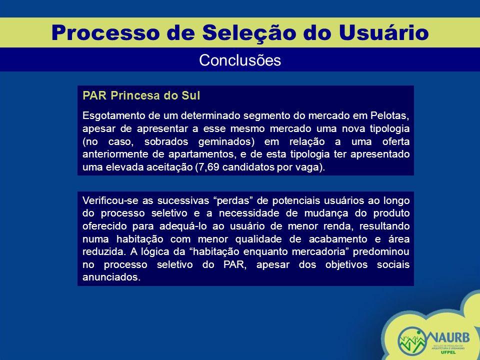 Processo de Seleção do Usuário Conclusões PAR Princesa do Sul Esgotamento de um determinado segmento do mercado em Pelotas, apesar de apresentar a ess