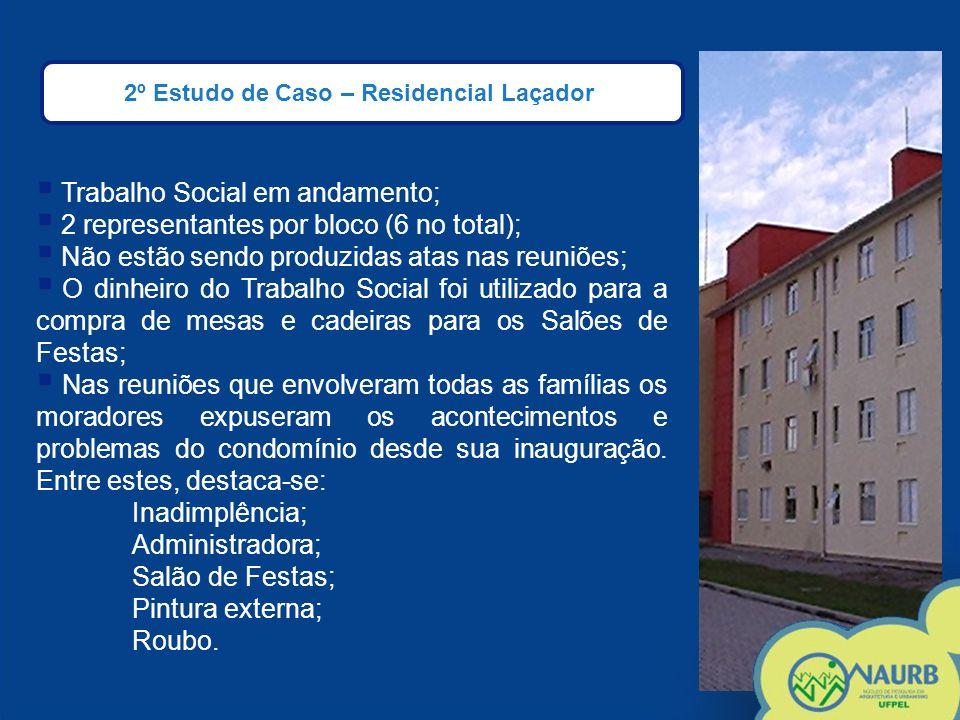2º Estudo de Caso – Residencial Laçador Trabalho Social em andamento; 2 representantes por bloco (6 no total); Não estão sendo produzidas atas nas reu