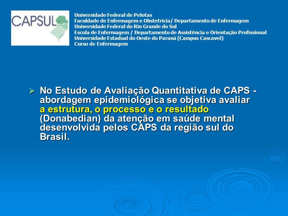 No Estudo de Avaliação Quantitativa de CAPS - abordagem epidemiológica se objetiva avaliar a estrutura, o processo e o resultado (Donabedian) da atenç