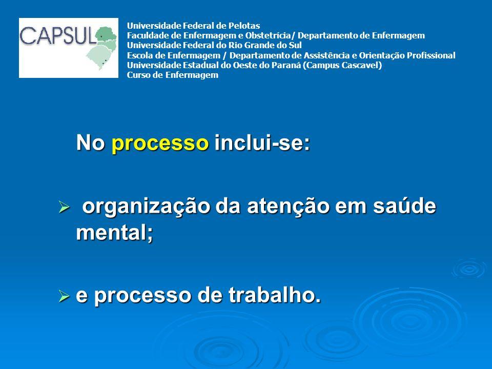 No processo inclui-se: organização da atenção em saúde mental; organização da atenção em saúde mental; e processo de trabalho. e processo de trabalho.
